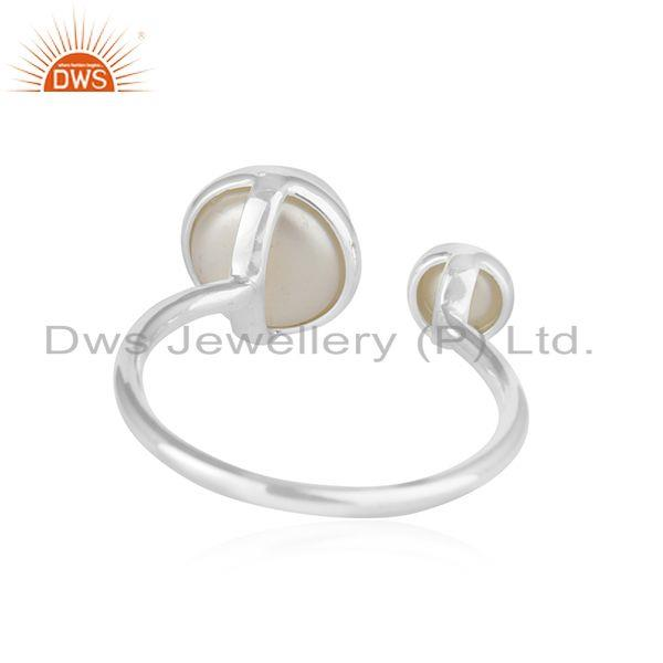 Suppliers Natural Pearl Gemstone Fine Sterling Silver Ring Manufacturer