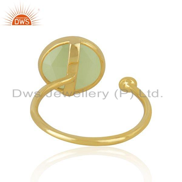 Suppliers 18k Gold Plated 925 Silver Prehnite Chalcedony Gemstone Ring Jewelry