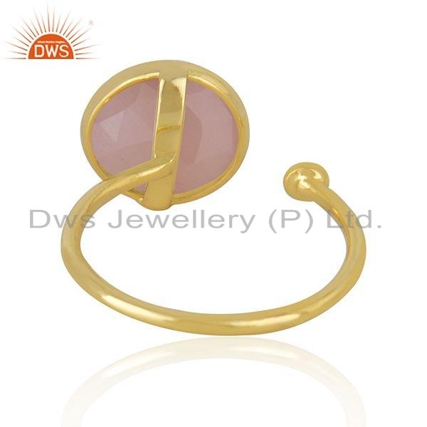 Suppliers Rose Chalcedony Gemstone Gold Plated Silver Ring Jewelry For Womens