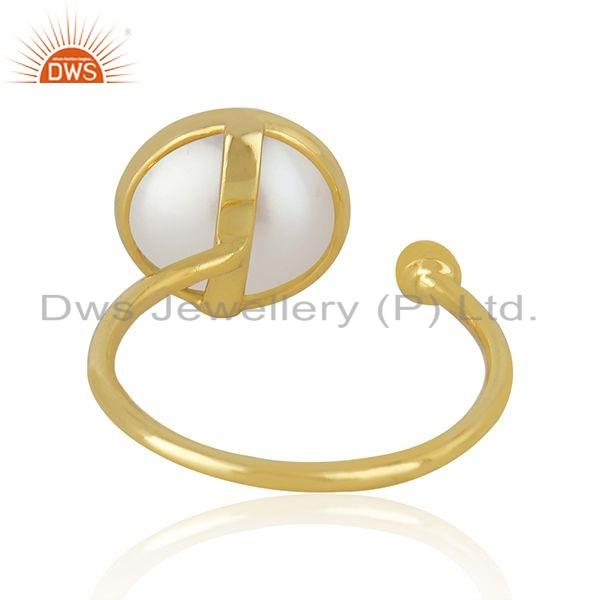 Suppliers Natural Pearl Gemstone Yellow Gold Plated Silver Handmade Ring Jewelry