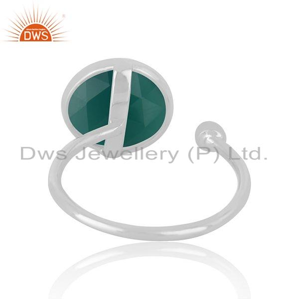 Suppliers Natural Green Onyx Gemstone Designer 925 Sterling Silver Ring Jewelry