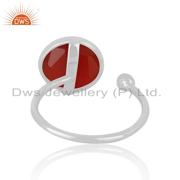 Suppliers Indian 925 Sterling Fine Silver Natural Red Onyx Gemstone Ring Jewelry