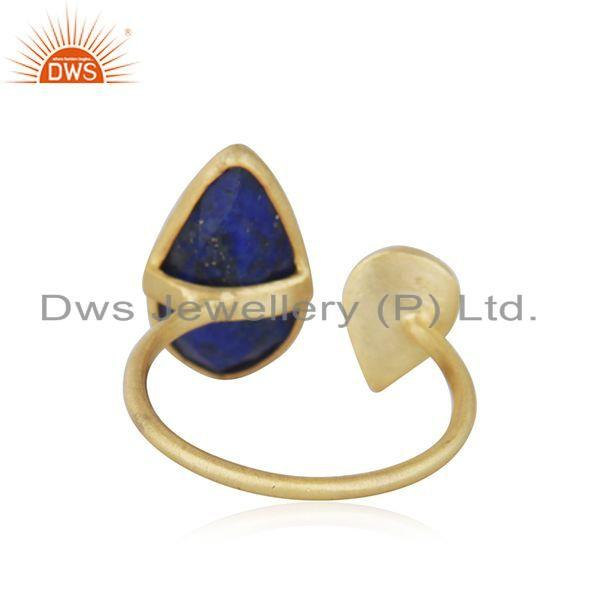 Suppliers 18k Gold Plated 925 Silver Natural Lapis Lazuli Gemstone Ring Jewelry