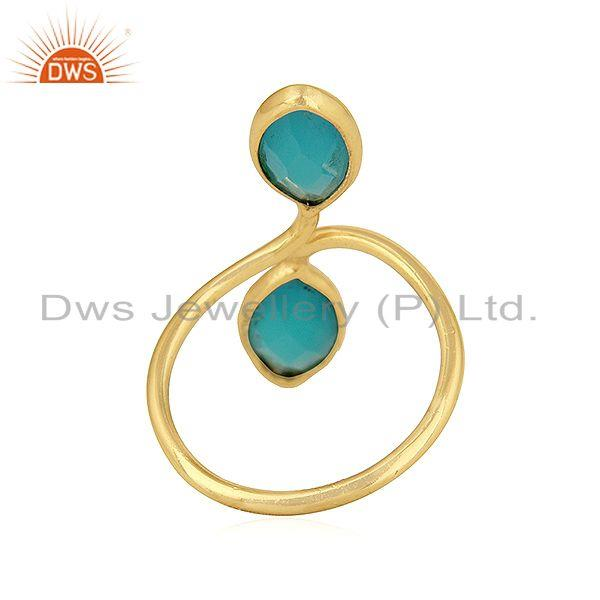 Suppliers Aqua Chalcedony Gemstone Gold Plated Designer Silver Cocktail Rings
