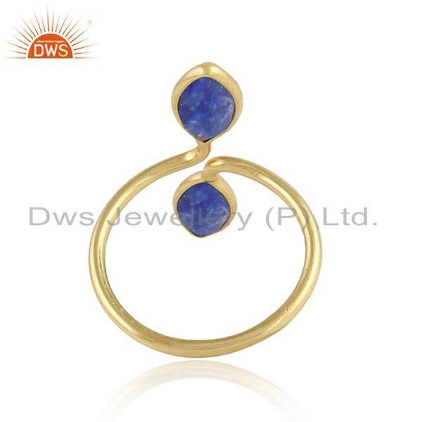 Designer of Lapis lazuli gemstone 18k gold plated designer womens rings