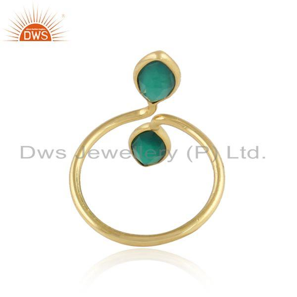 Designer of Glossy yellow gold plated 925 silver green onyx gemstone rings