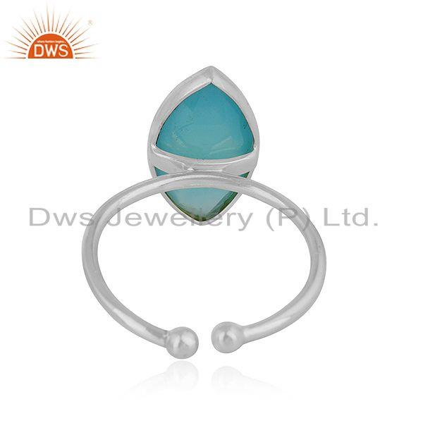Suppliers Sterling Fine Silver Marquise Shape Aqua Chalcedony Gemstone Rings