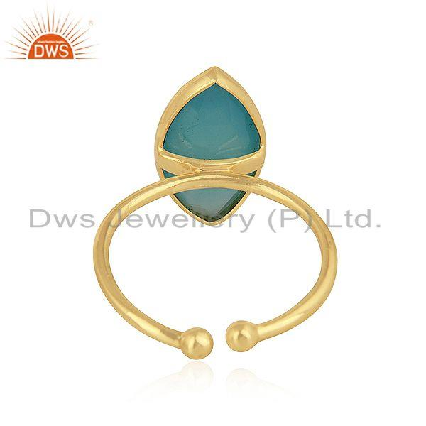 Suppliers Marquise Shape Aqua Chalcedony Gemstone Silver Gold Plated Rings