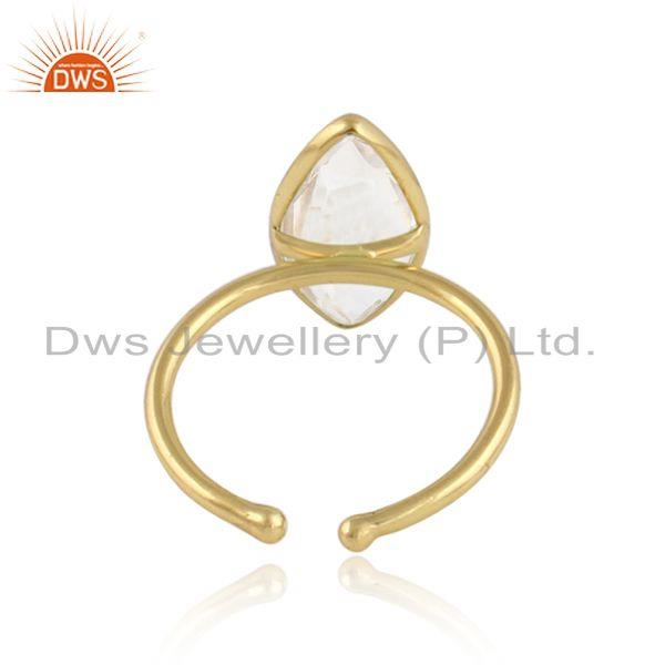 Designer of Crystal quartz gemstone 18k yellow gold plated 925 silver rings