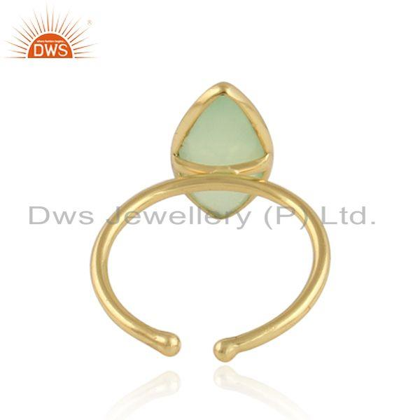 Designer of Prehnite chalcedony gemstone womens gold plated silver rings