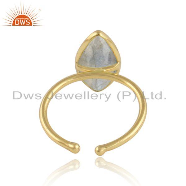 Designer of Marquise labradorite gemstone 18k gold plated 925 silver rings