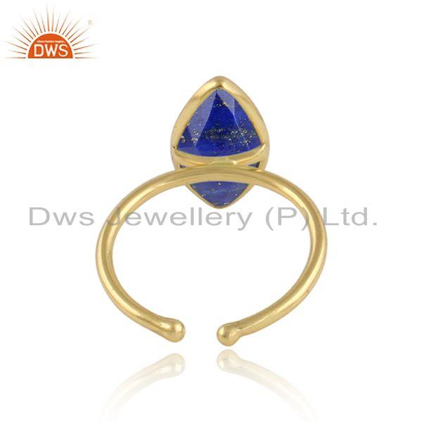 Designer of Lapis lazuli gemstone designer gold plated womens silver rings