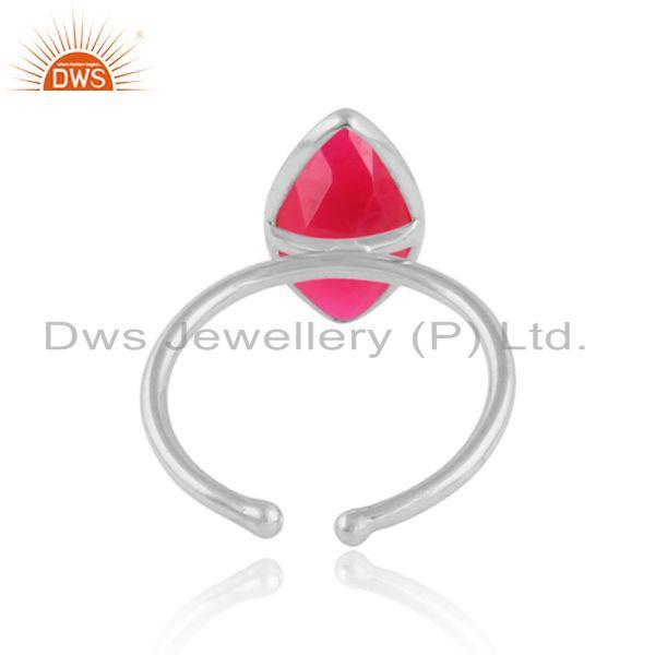 Designer of Marquise pink chalcedony gemstone sterling fine silver rings