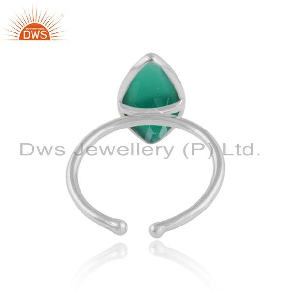 Designer of Glossy design 925 sterling fine silver green onyx gemstone rings