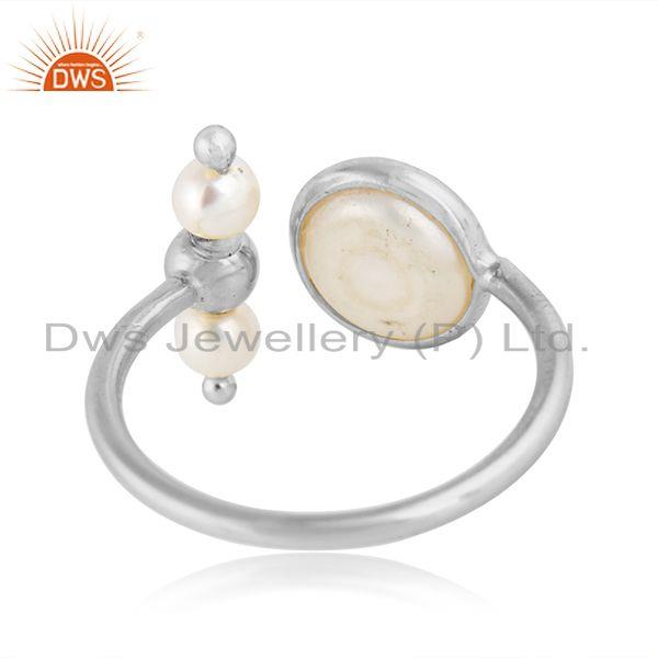 Designer of Natural pearl gemstone designer 925 sterling fine silver rings