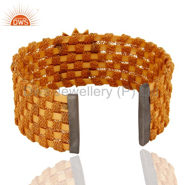 Suppliers 18K Gold Plated Sterling Silver Tourmaline Wire Weave Cuff Bracelets