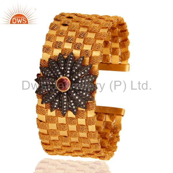 Suppliers 925 Sterling Silver Gold Plated Tourmaline Wire Weave Cuff Bracelets