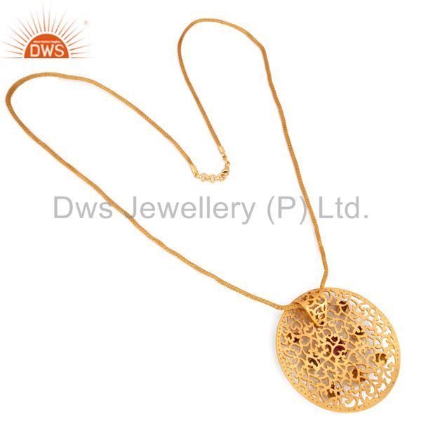 Suppliers 18K Gold Plated Sterling Silver Raw Tourmaline Pendant With Wire Mesh Necklace