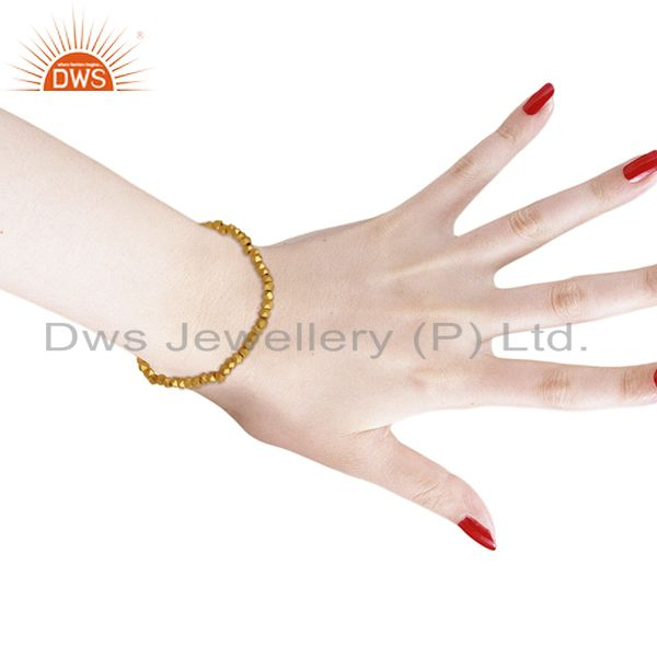 Suppliers 18K Yellow Gold Plated Brass Ladies Fashionable Stretch Bracelet Jewelry