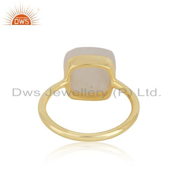 Rainbow Moonstone Gold Plated Silver Rng