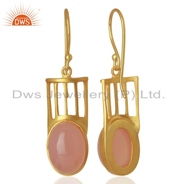 Designers Natural Rose Quartz Gemstone Designer Earrings - Yellow Gold Plated