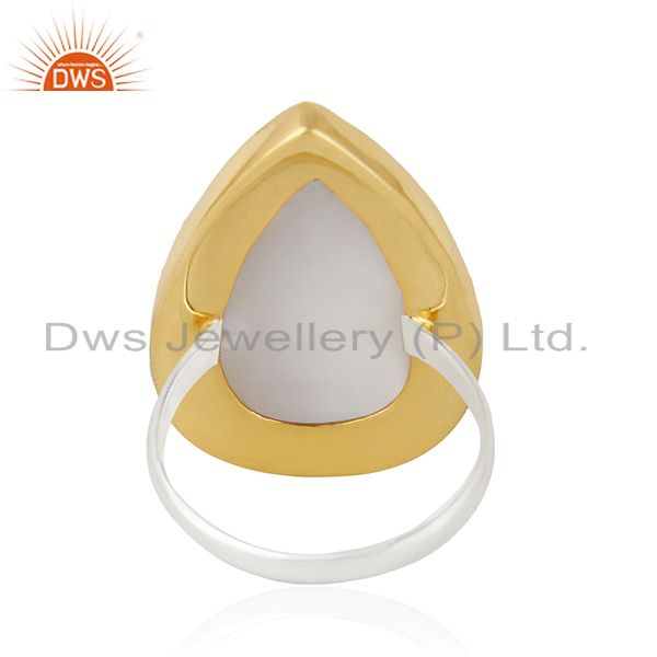 Wholesalers 18K Gold Plated & Solid 925 Sterling Silver Handmade Dendritic Opal Unique Ring