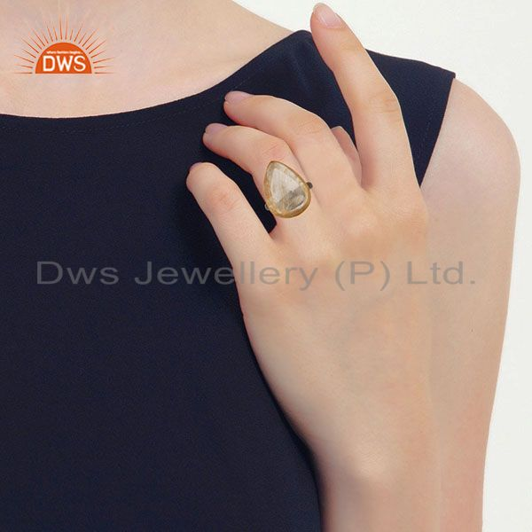 Wholesalers 14K Gold Plated & Black Oxidized Sterling Silver Handmade Routile Golden Ring