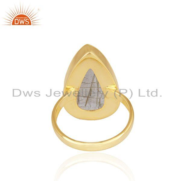 Wholesalers Golden Rutile Gemstone 925 Silver Gold Plated 925 Silver Ring For Mens
