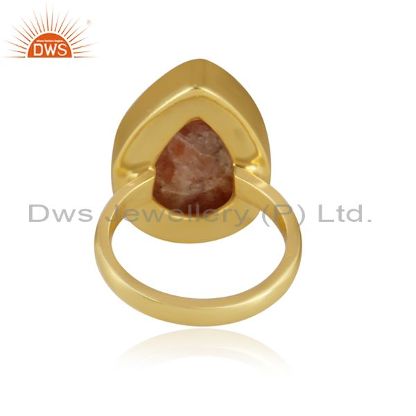 Pear cut sun stone set gold on 925 silver statement ring