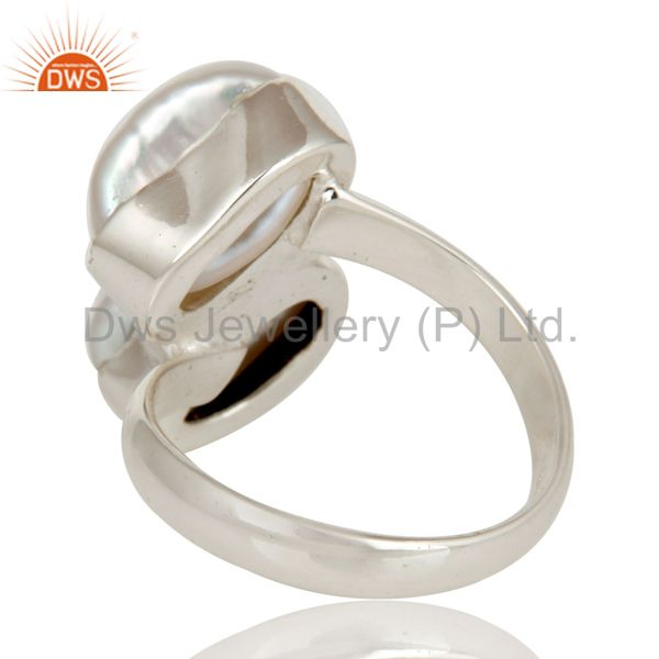 Wholesalers Fresh Water Pearl Solid Sterling Silver Handmade Two Stone Ring