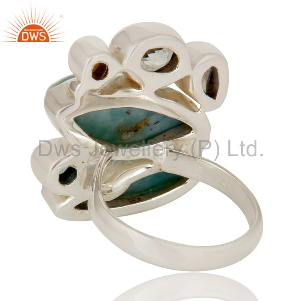 Wholesalers Larimar, Blue Topaz and Green Amethyst Solid 925 Silver Handmade Ring
