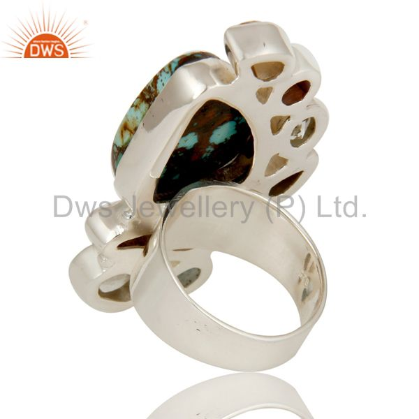 Wholesalers Boulder Turquoise, Citrine, Fresh Water Pearl Multi Stone Combination Ring