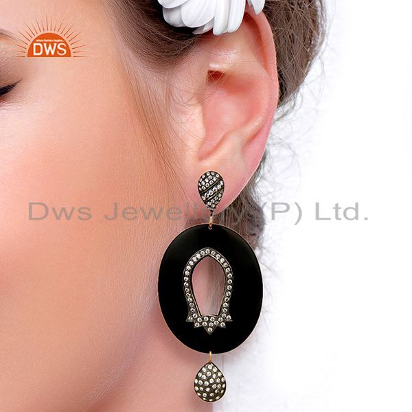 Wholesalers Wholesale Brass White Zircon Bakelite Fashion Earrings Manufacturer