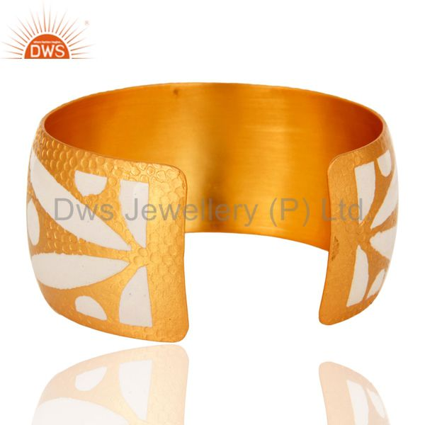 Wholesalers 18K Yellow Gold Plated Over Brass Wide Bangle Cuff Bracelet With Enamel Work