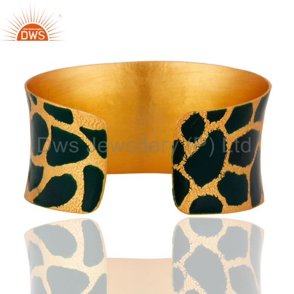 Wholesalers 24 Carat Gold Plated Cubic Zirconia Handcrafted Womens Cuff Bracelets Jewelry