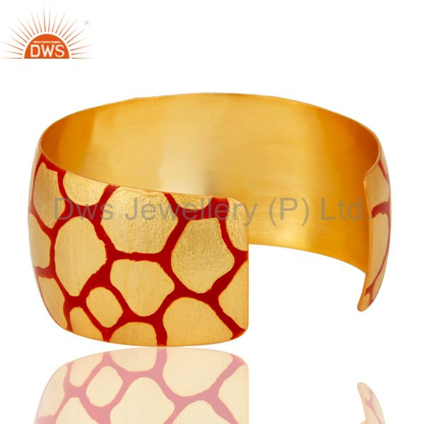 Wholesalers 18K Gold Plated Red Glass with White CZ and Red Enamel Cuff Fashion Jewelry