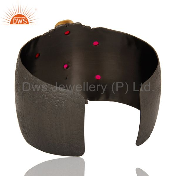 Wholesalers Pink Chalcedony Black Oxidized Handmade Cuff Fashion Jewelry Textured Bangle