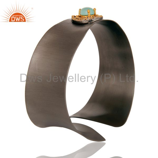 Wholesalers Black Oxidized Comfort Fit Wide Cuff Made With Aqua Chalcedony and Zircon