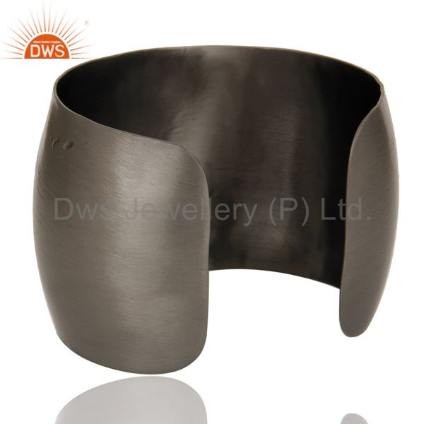 Wholesalers Black Oxidized Coral and CZ Wide Cuff Handmade Fashion Jewelry Bangle