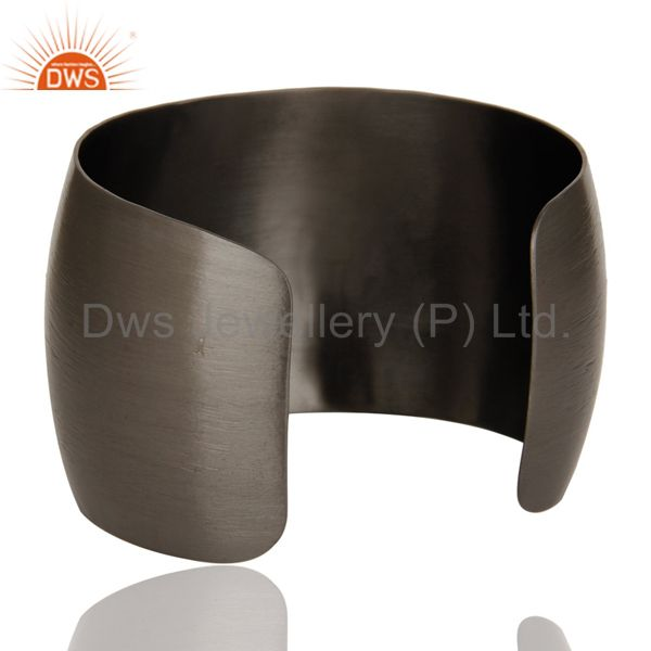Wholesalers Black Oxidized Green Onyx and CZ Wide Cuff Handmade Fashion Jewelry Bangle