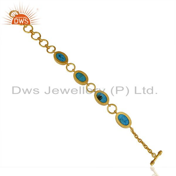 Wholesalers 14K Gold Plated Handmade Natural Turquoise Adjustable Bracelet Made In Brass