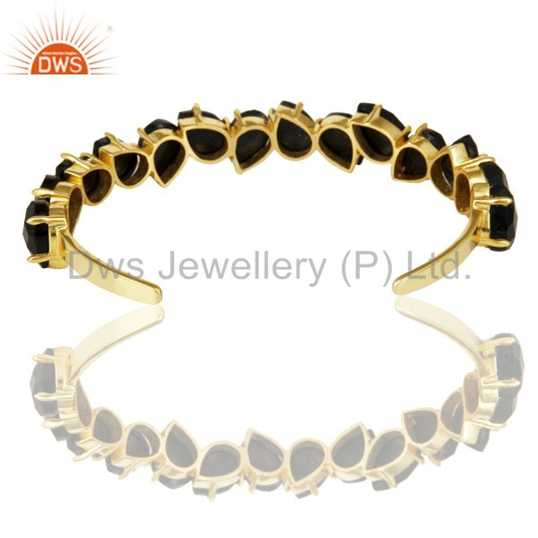 Wholesalers 14K Gold Plated Handmade Prong Set Black Onyx Cuff Bracelet