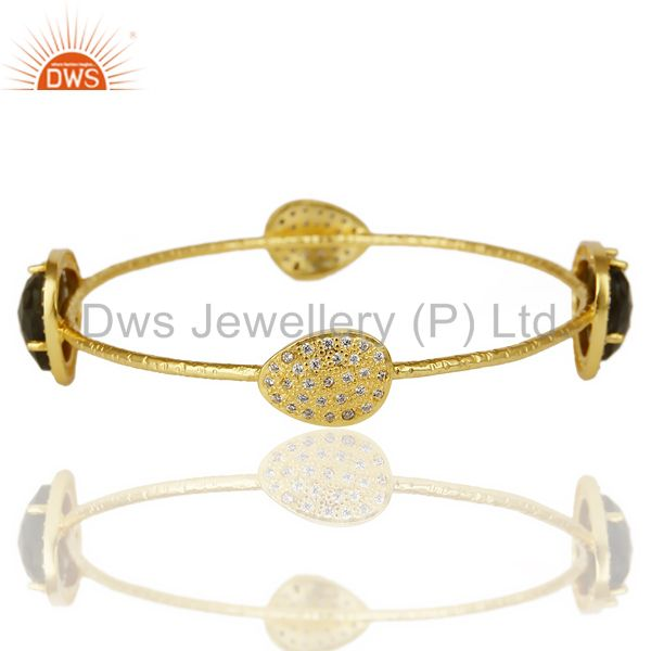 Labrodorite free shape fashion bangle studded cz exclusive jewelry Exporter