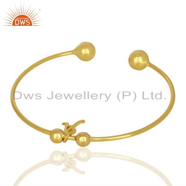 Wholesalers Gold Plated A Initial Openable Adjustable Wholesale Fashion Cuff Jewelry