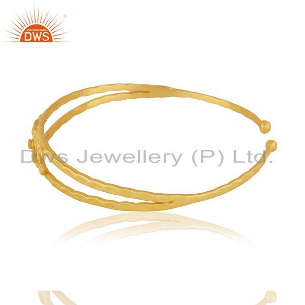Wholesalers Floral Yellow Gold Plated Brass Cuff Bangle Bracelet Jewelry