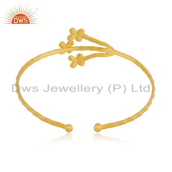 Wholesalers Floral design Handmade Gold Plated Brass Fashion Cuff Bangle Jewelry