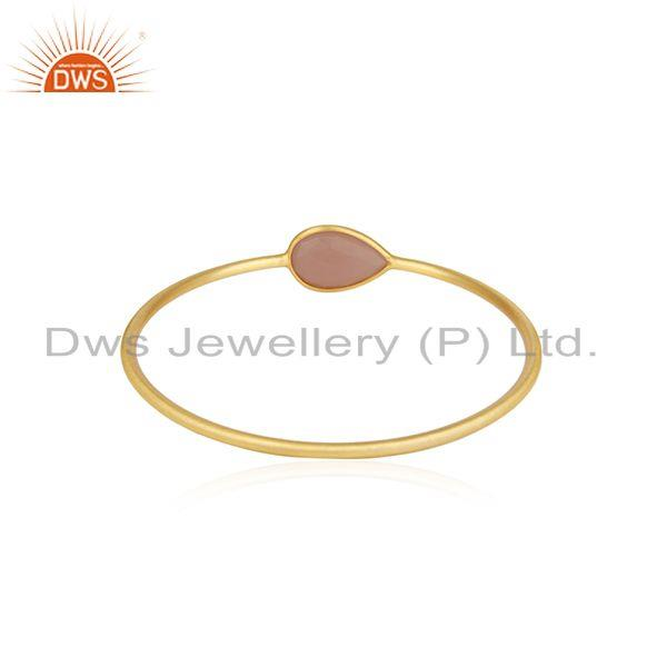 Gold plated brass rose chalcedony gemstone bangle manufacturer Exporter
