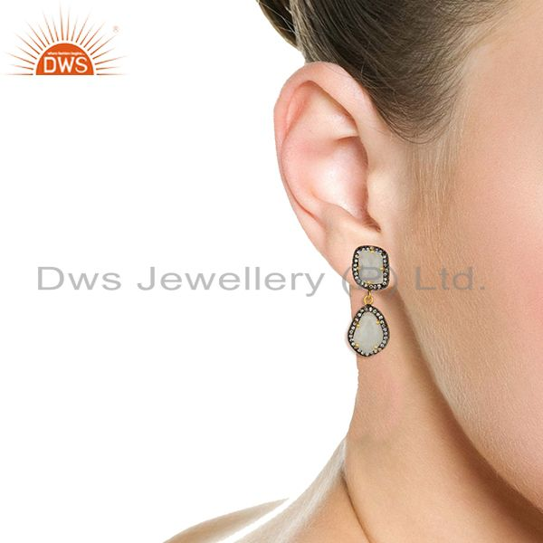 Wholesalers Rainbow Moonstone and Cz Gemstone Brass Earrings Manufacturer