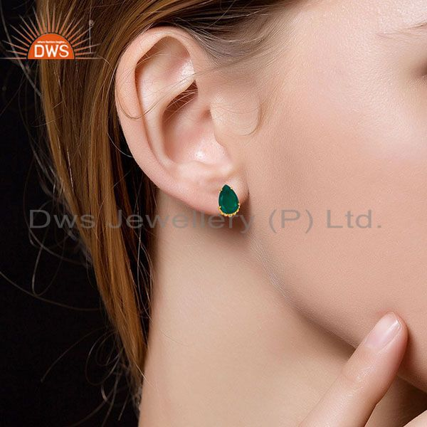 Wholesalers 14K Gold Plated Traditional Handmade Green Onyx Prong Set Studs Brass Earrings