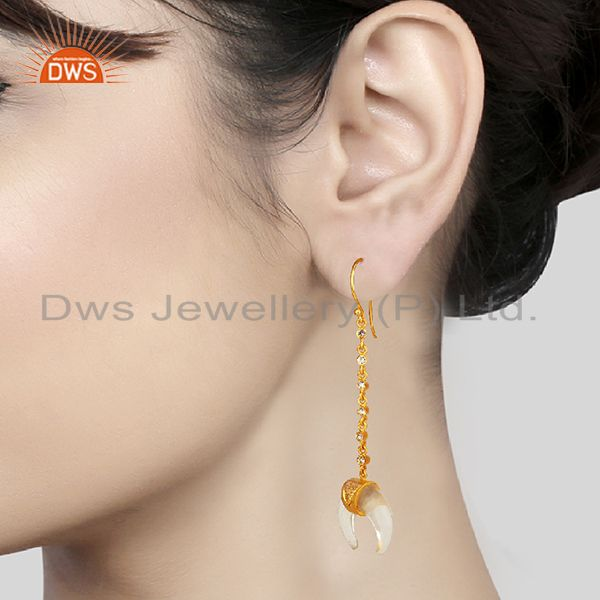 Wholesalers Crystal Quartz Crescent Moon 925 Sterling Silver 18k Gold Plated Dangle Earring